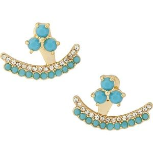 Kate Spade dainty turquoise and gold tone earrings